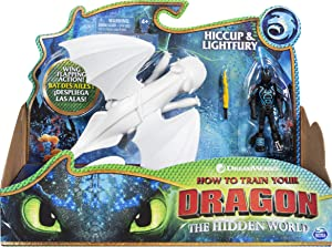Dreamworks Dragons, Lightfury and Hiccup, Dragon with Armored Viking Figure, for Kids Aged 4 and Up