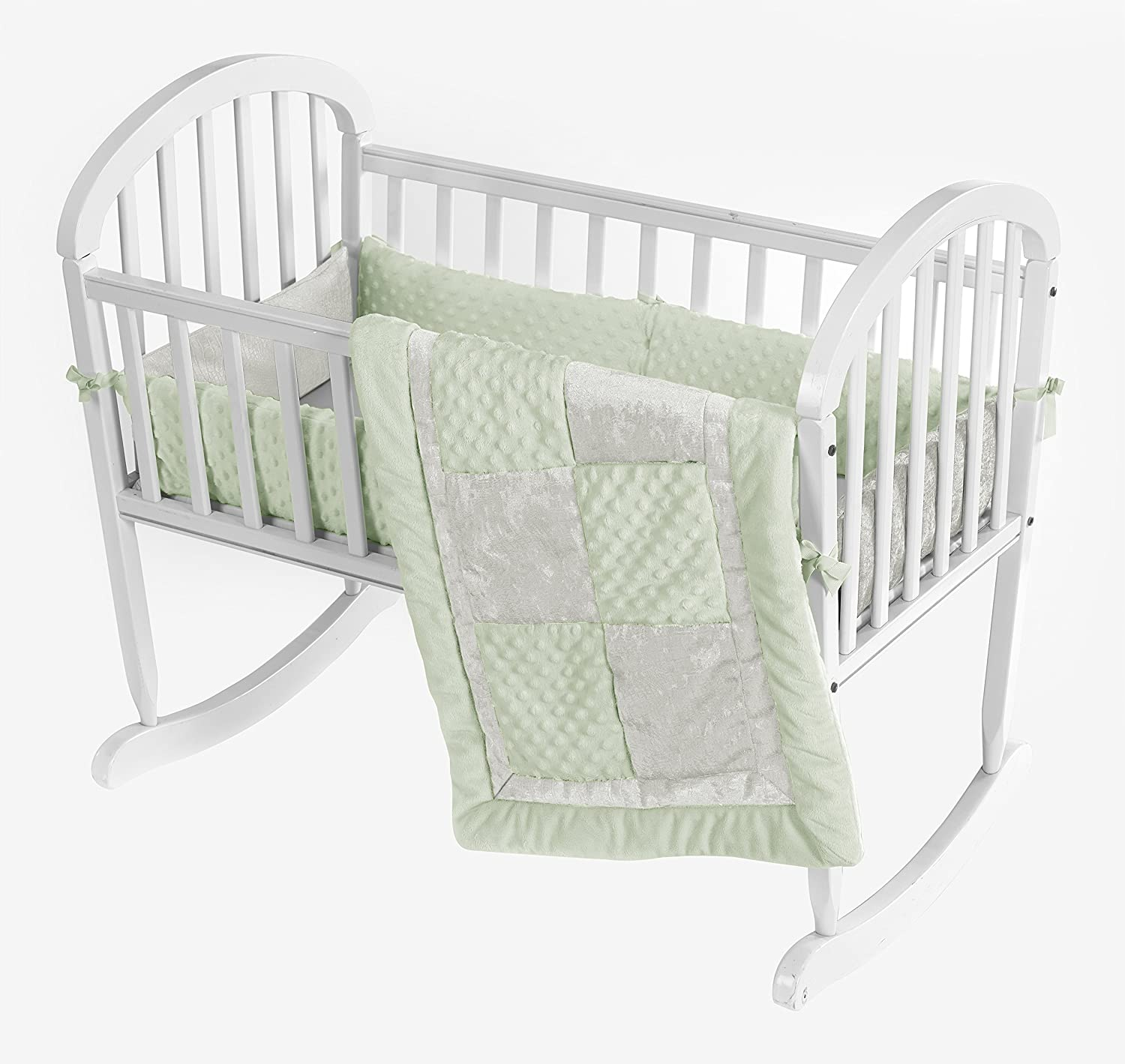 Baby Doll Bedding Croco Minky Cradle Bedding Set, Sage/Ivory by BabyDoll Bedding   B00KBGTCES
