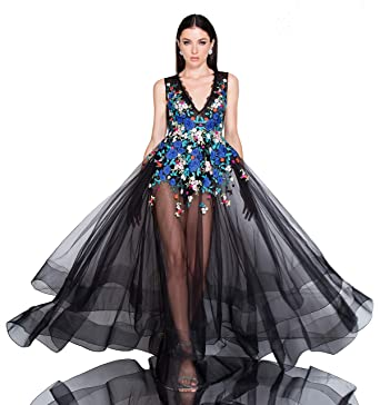 b87c76d5f6b7 Terani Couture Sleeveless Floral Embroidered V-Neck Bodice Body Suit Dress  at Amazon Women's Clothing store: