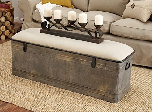 Deco 79 60966 METAL AND FABRIC STORAGE BENCH, Kamia 4-Tier Shoe Rack, Rustic Gray