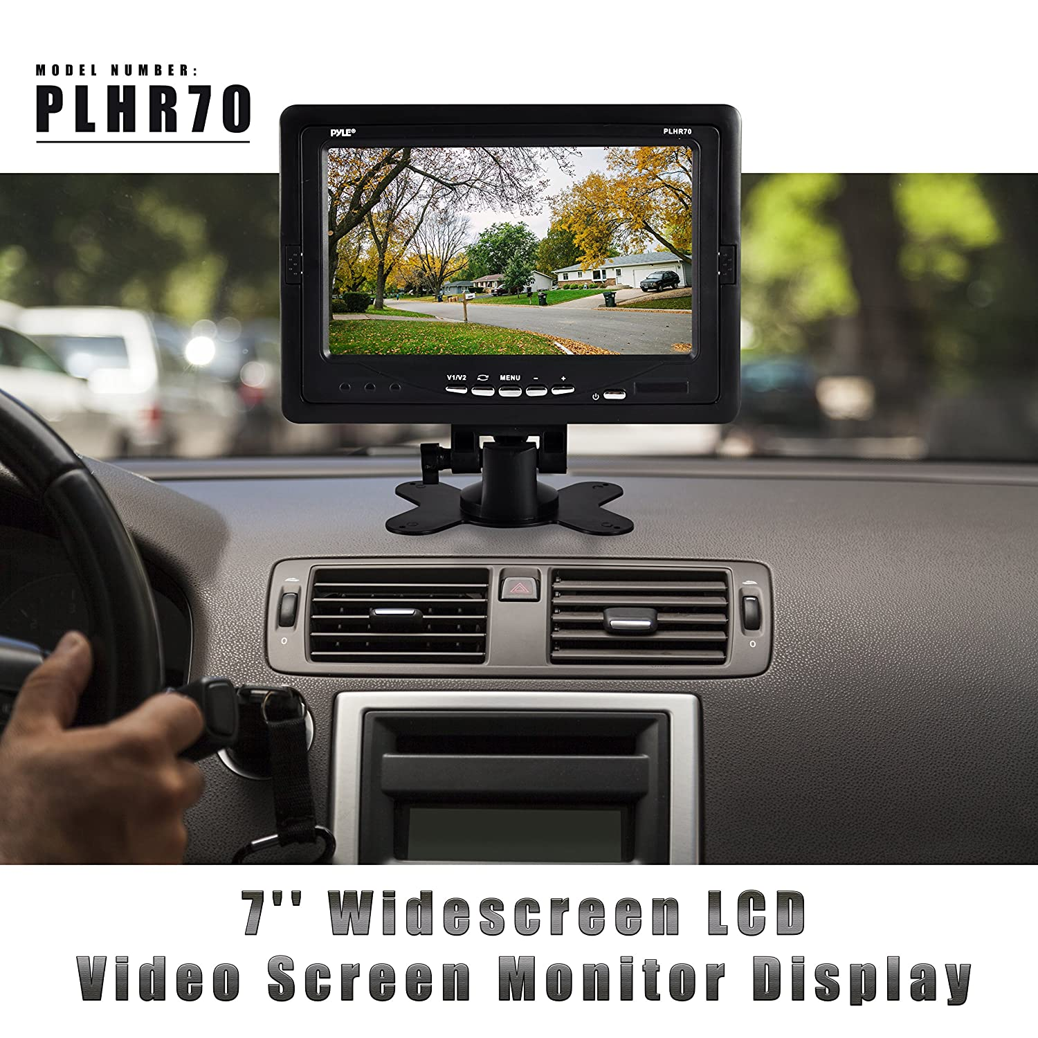 Premium 7 Inches Rearview Car Lcd Monitor By Pyle Plcm7700 Wiring Diagram Parking Assistant With Wireless Remote Control Full Color Wide Screen Can Be