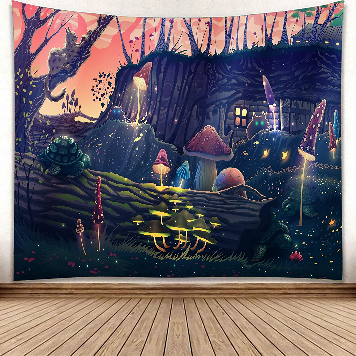 Treeswift Mushroom Forest Black Cat Turtle Tapestry Wall Hanging Tapestry for Bedroom Aesthetic Room Decor for Teens Adults