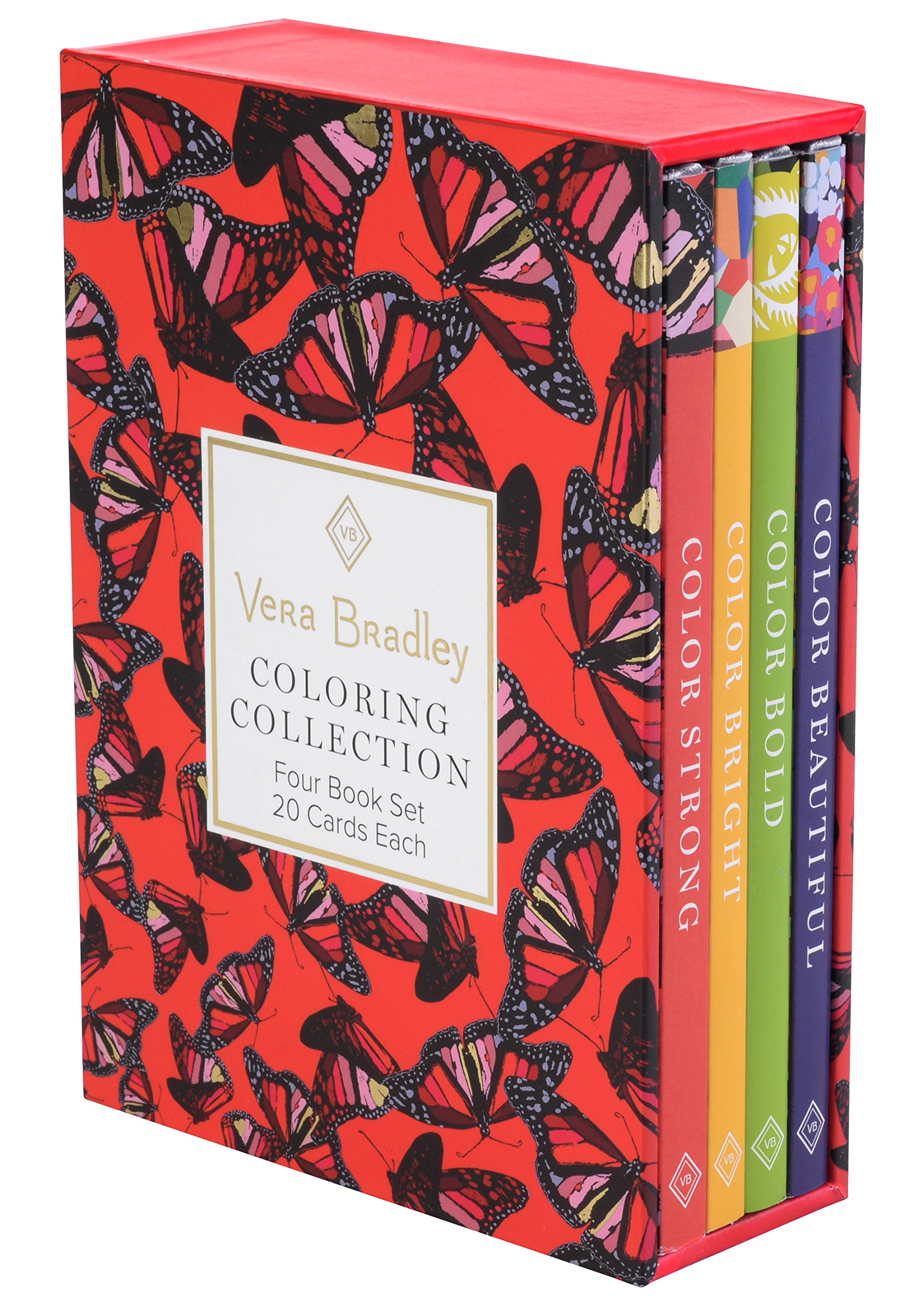 Vera Bradley Coloring Collection (Design Originals) 4 Book Set with Slipcase includes Beautiful, Bold, Bright, & Strong: 80 Authentic Designs on High-Quality Cardstock That Won't Bleed Through