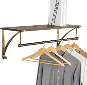 MyGift Wood & Antique Bronze-Tone Metal Wall Mounted Floating Shelf with Garment Hanger Rod