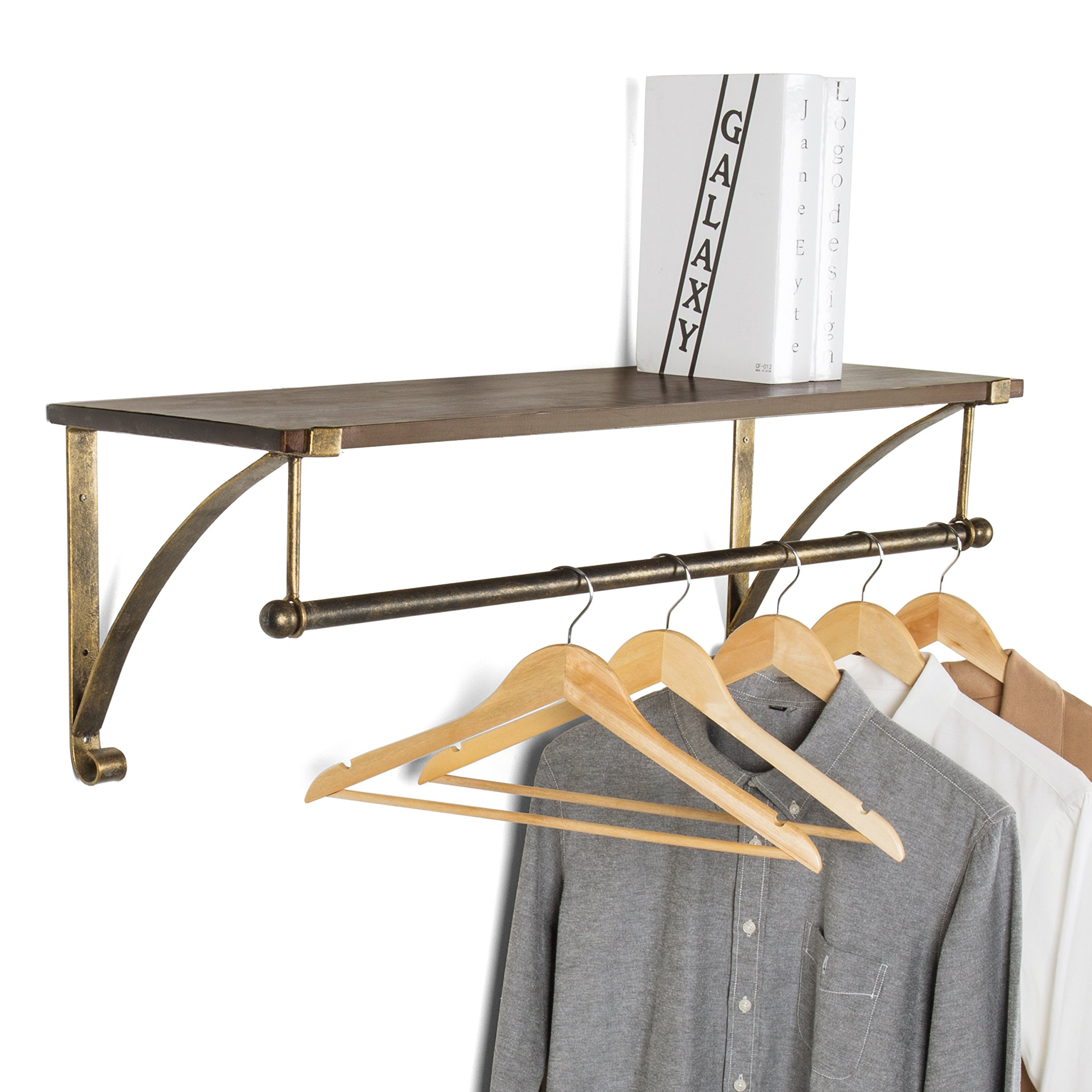 MyGift Wood & Antique Bronze-Tone Metal Wall Mounted Floating Shelf with Garment Hanger Rod by MyGift