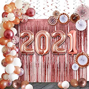 Graduation Decorations 2021:40in 2021 Balloons,90Pcs Rose Gold Party Supplies are Perfect for your Grad and New Years Eve Party Decor