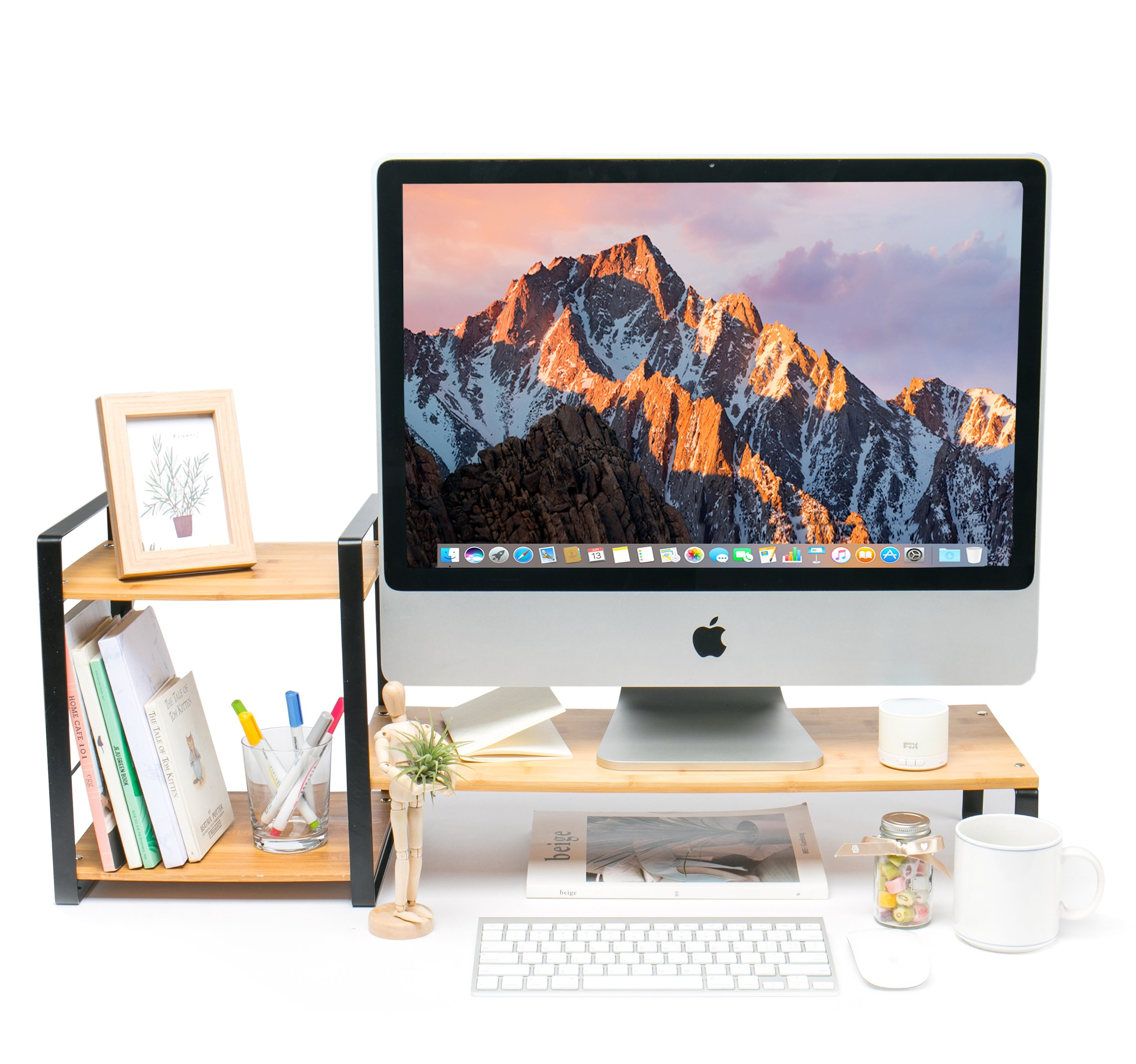 JackCubeDesign Bamboo Monitor Stand Computer Riser with 2-Tier Desktop Bookshelf Countertop Bookcase,Book Storage Organizer Display Shelf Rack for Home Office– :MK363A