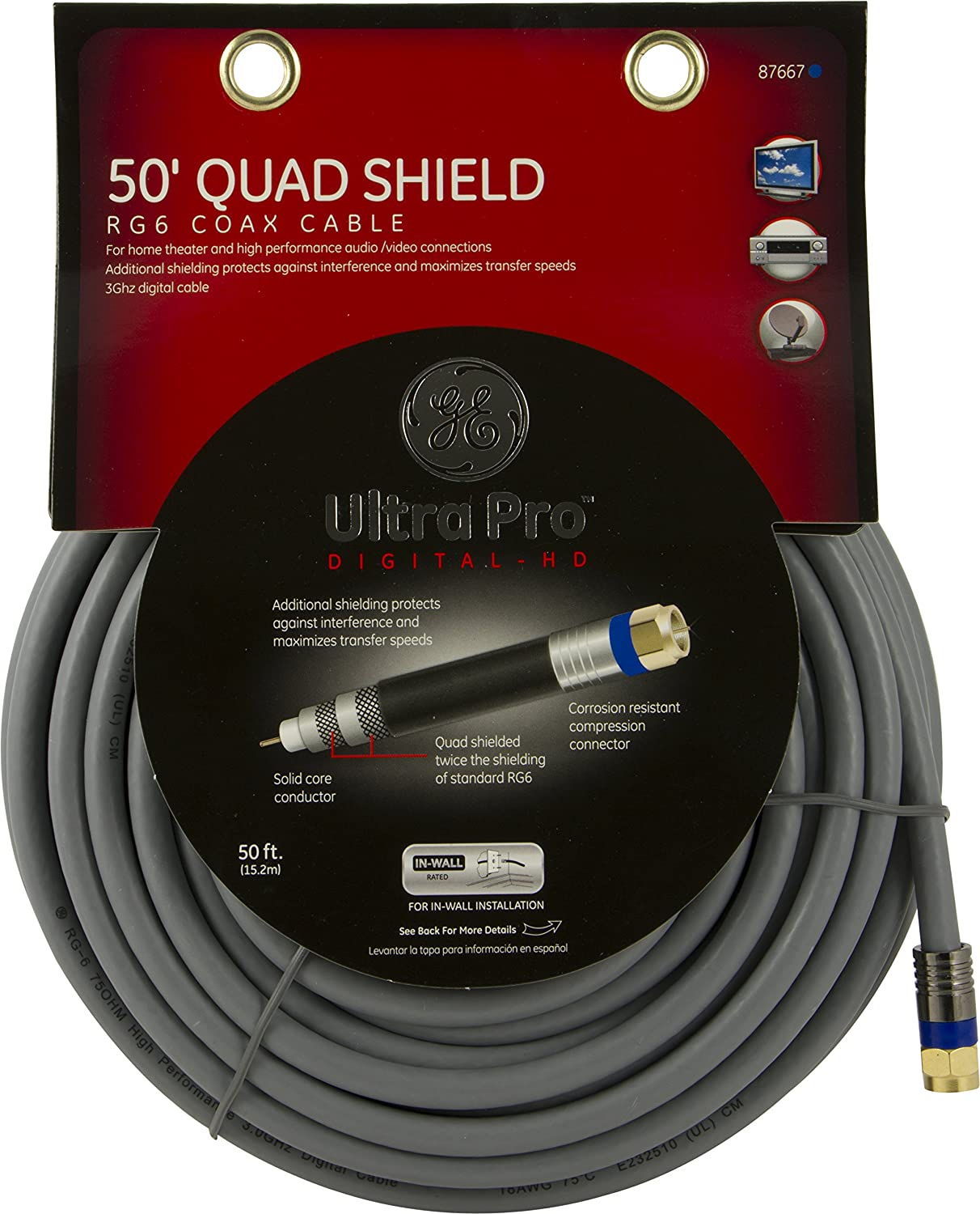 Amazon.com: GE 87667 Ultra Pro 50-Ft RG6 Quad Shield Coax Cable with Compression F-Connectors - UL In-Wall Rated: Home Audio & Theater