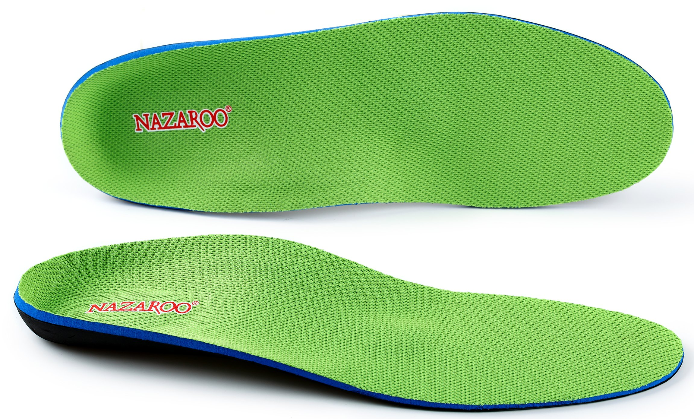 Orthotics for Flat Feet by NAZAROO, Shoe Inserts Arch Support Insoles Fight Against Plantar Fasciitis, Relieve Feet Pain, Heel Pain and Pronation for Men and Women (US Mens 10-10.5 | Womens 12-12.5)
