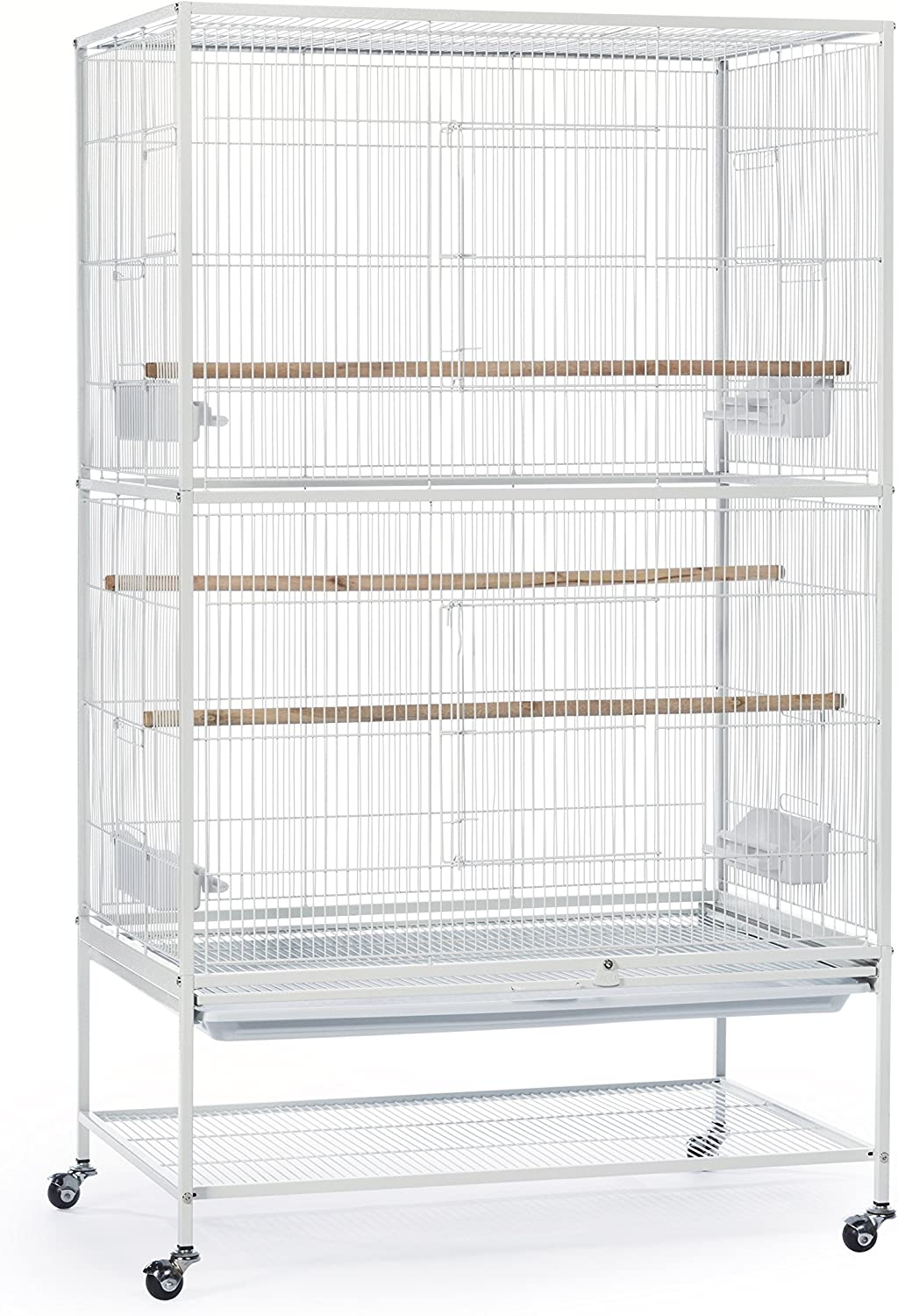Prevue Pet Products Wrought Iron Flight Cage With Stand Chalk White Pet Supplies