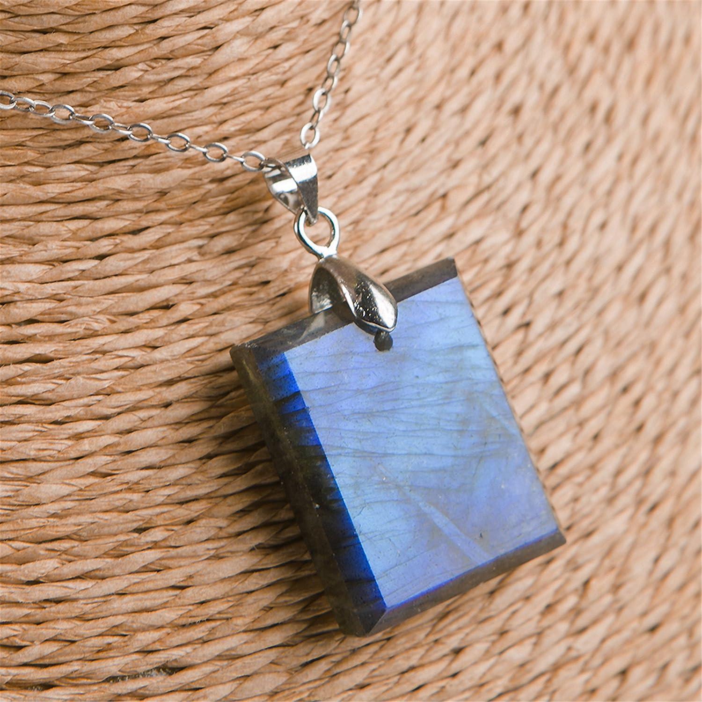 LiZiFang Genuine Natural Blue Light Labradorite Gemstone Crystal Woman Men Pendant 24x18x6mm