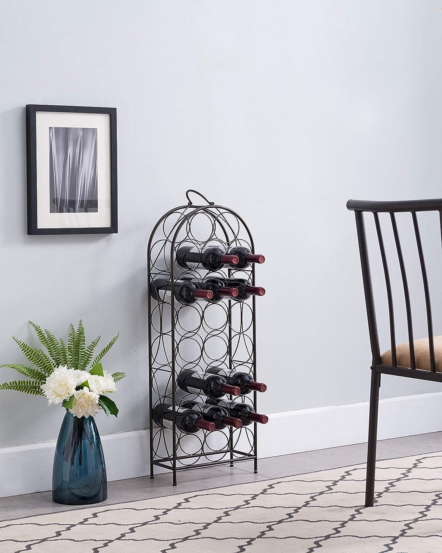 Kings Brand Furniture – Segno 23 Bottle Wine Rack Stand Storage Organizer, Pewter