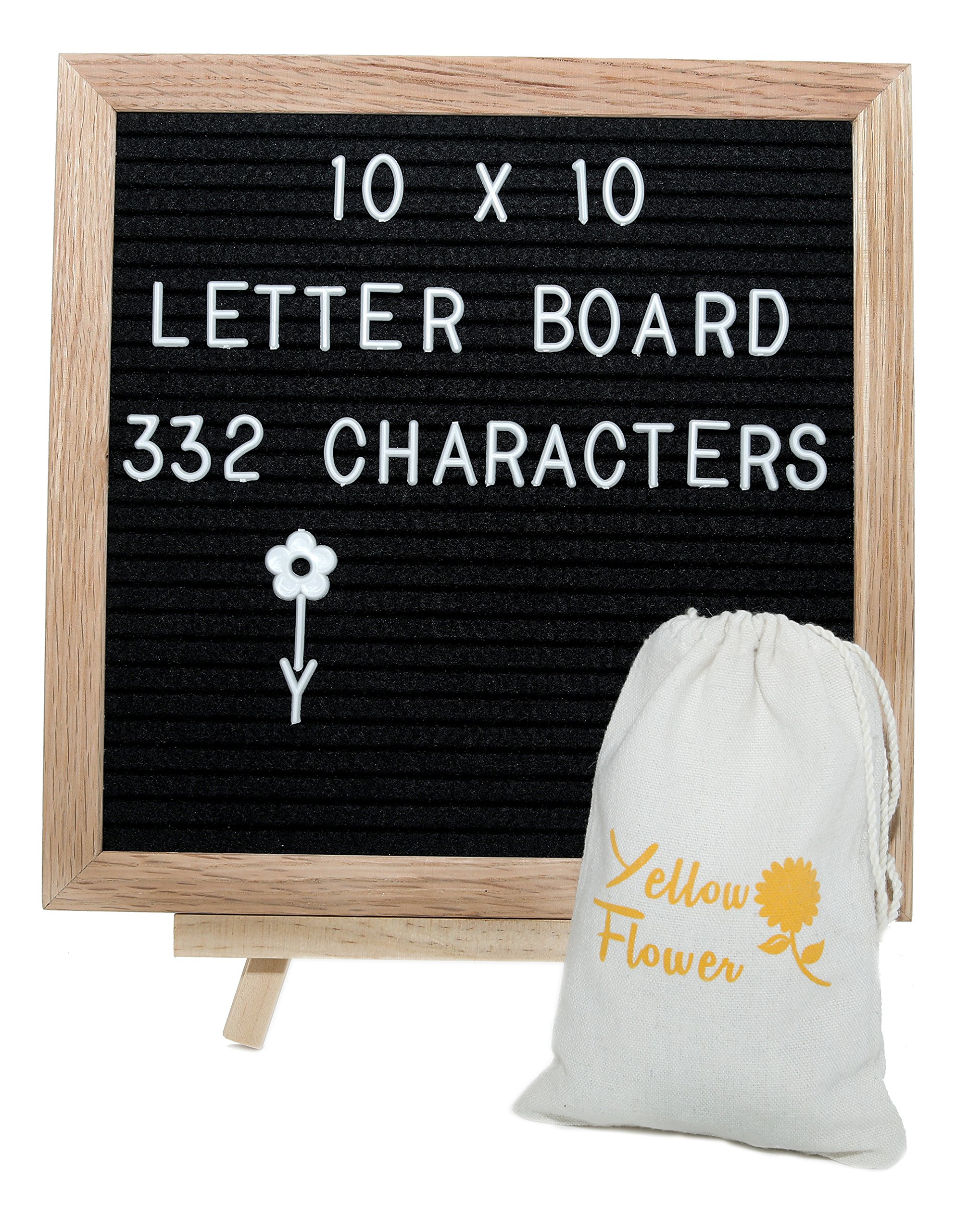 Black Felt Letter Board 10X10 inches with 332 Plastic Changeable Letters Numbers and Characters, Canvas Bag Wooden Adjustable Easel and a Wall Mount- Perfect for Classroom Decorations and Gifts