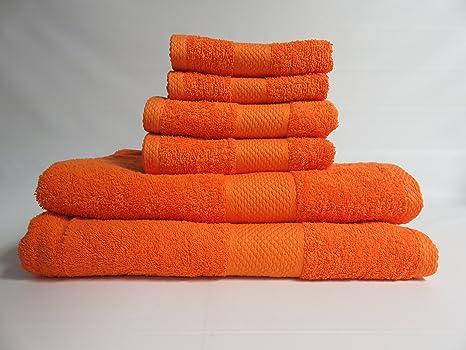 6 piezas 100% algodón juego de toallas – naranja