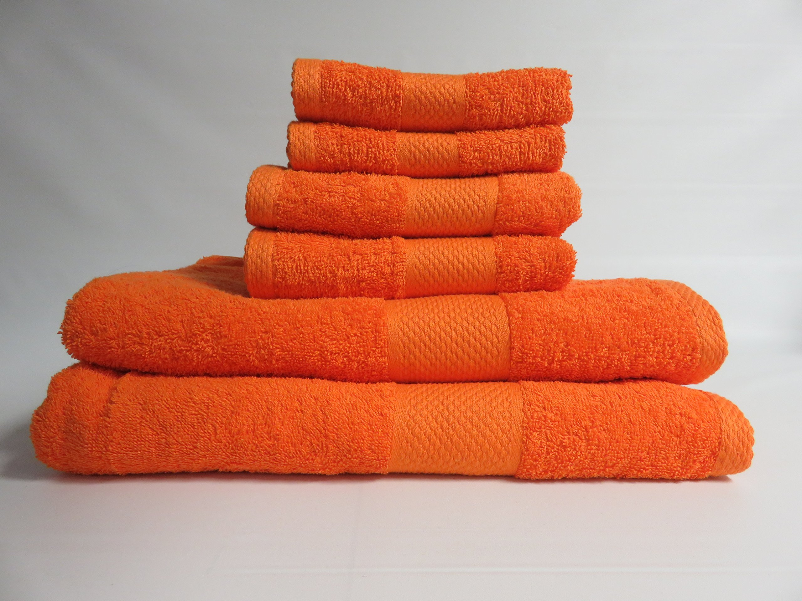Lantrix SOFT 100% Natural COTTON 6 Piece TOWEL SET (ORANGE) by Lantrix