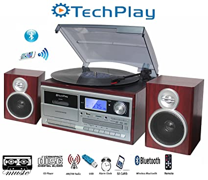 TechPlay ODC128BT 3-Speed Turntable with Cassette Player/Recorder, CD,MP3 SD