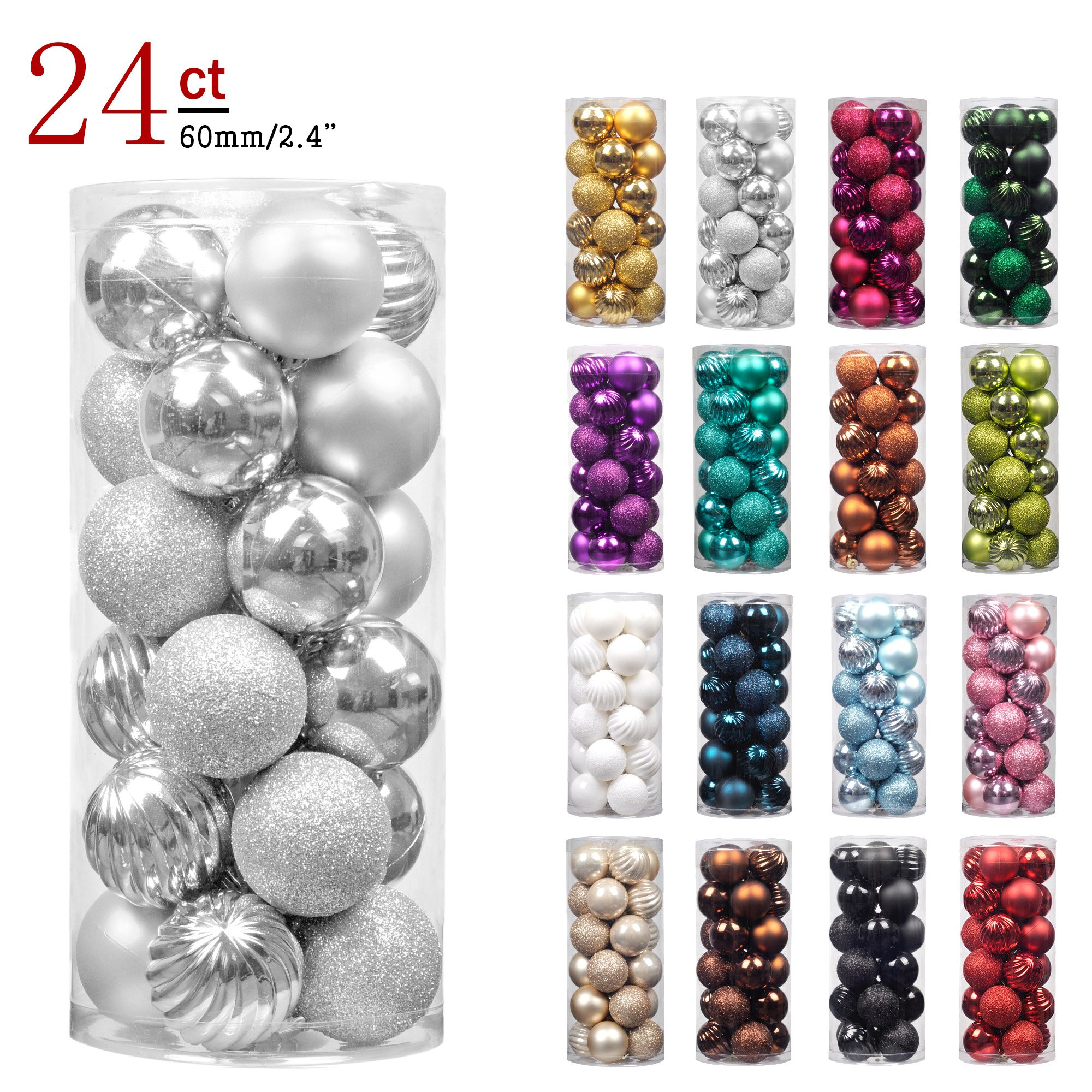 KI Store 24ct Christmas Ball Ornaments Shatterproof Christmas Decorations Tree Balls for Holiday Wedding Party Decoration, Tree Ornaments Hooks included 2.36'' (60mm Silver)