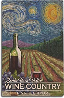 product image for Lantern Press Santa Ynez Valley, California - Wine Country - Vineyard - Starry Night 102070 (10x15 Wood Wall Sign, Wall Decor Ready to Hang)