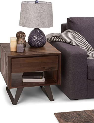 Simpli Home Lowry Solid Acacia Wood and Metal 22 inch wide Square Modern Industrial End Side Table in Distressed Charcoal Brown with Storage, 1 Drawer and 1 Shelf, for the Living Room and Bedroom
