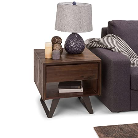 Simpli Home AXCLRY-02 Lowry Solid Acacia Wood and Metal 22 inch wide Square Modern Industrial End Side Table in Distressed Charcoal Brown