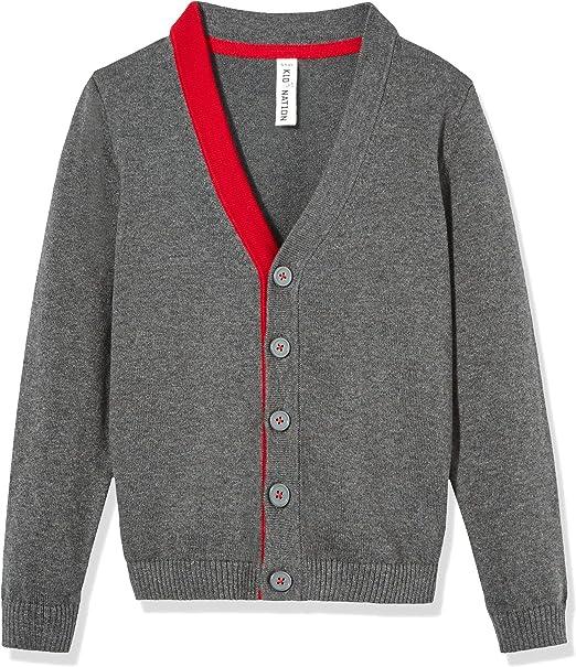 Kid Nation Boys Sweater Long Sleeve Cardigan Cotton Casual School Uniforms Sweater