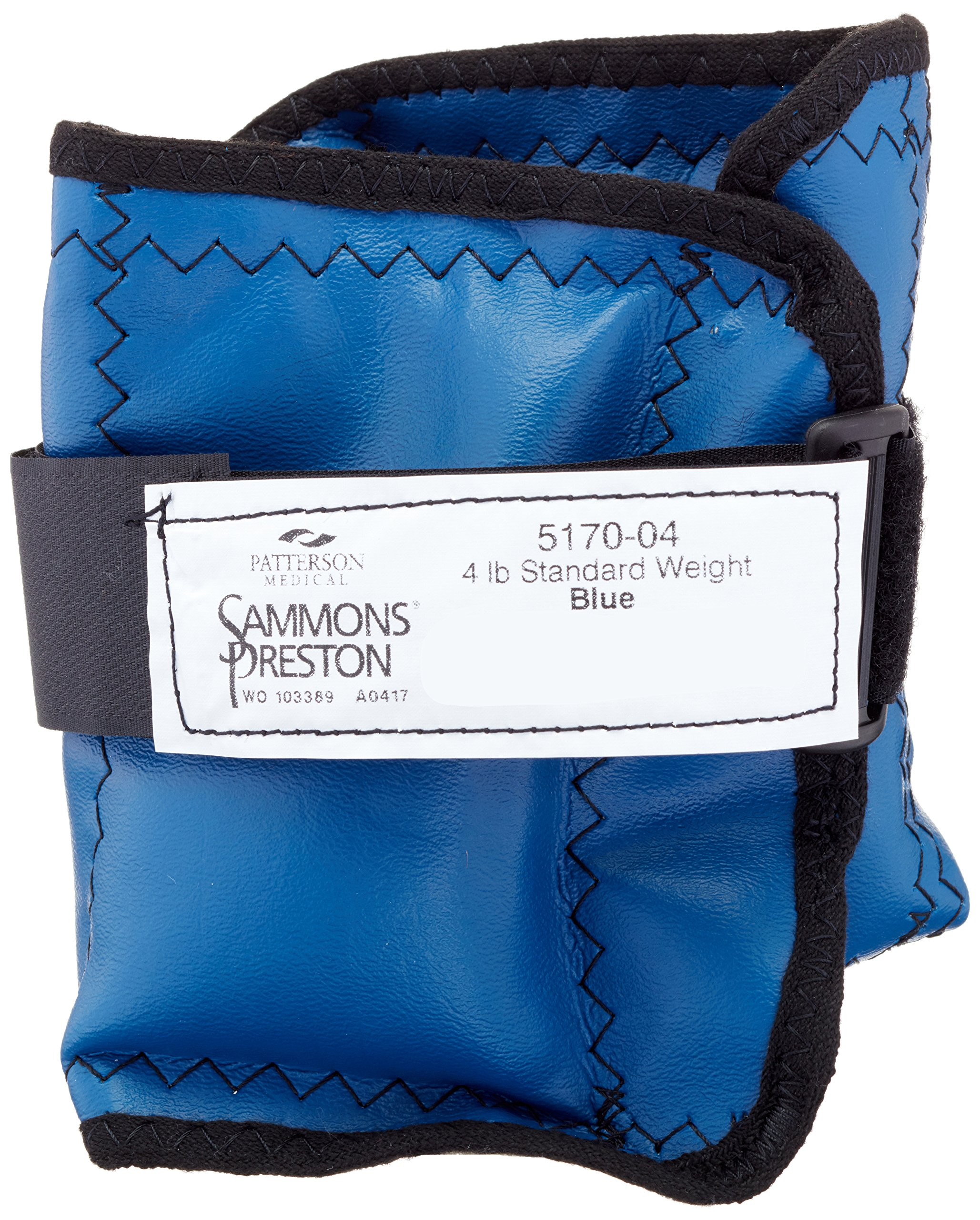 Sammons Preston Cuff Weight, 4 lb, Blue, Velcro Strap & D-Ring Closure, Grommet for Easy Hanging, Steel Ankle & Wrist Weights are Lead Free, Exercise Tool for Strength Building & Injury Rehab by Sammons Preston (Image #1)