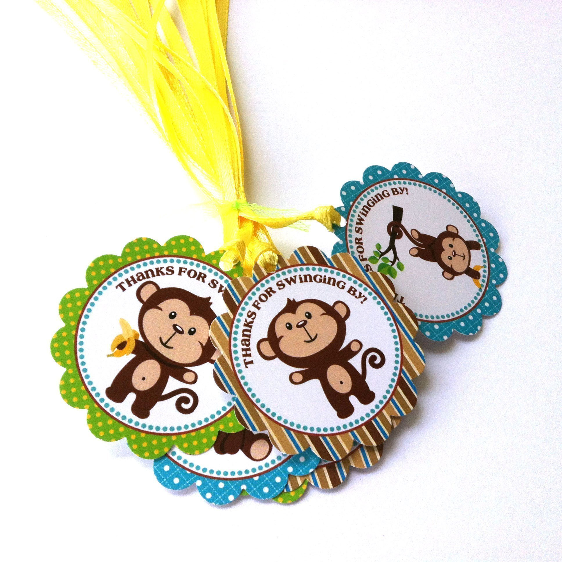 Monkey Thank You Favor Tags - Thanks for Swinging By Birthday Baby Shower Gift Tags - Set of 12