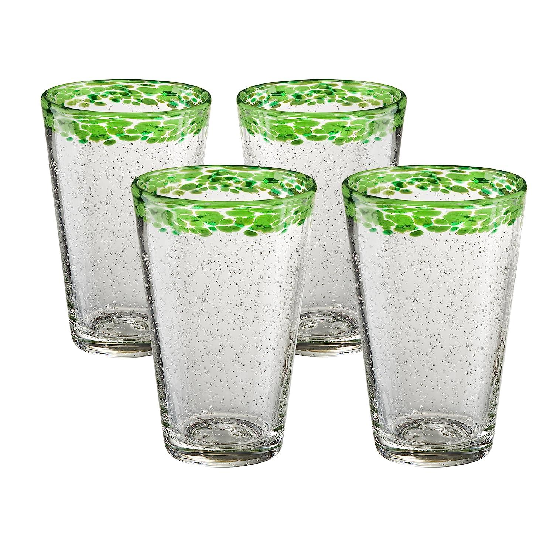 Artland Mingle Margarita Glasses Set of 4 Green Rim