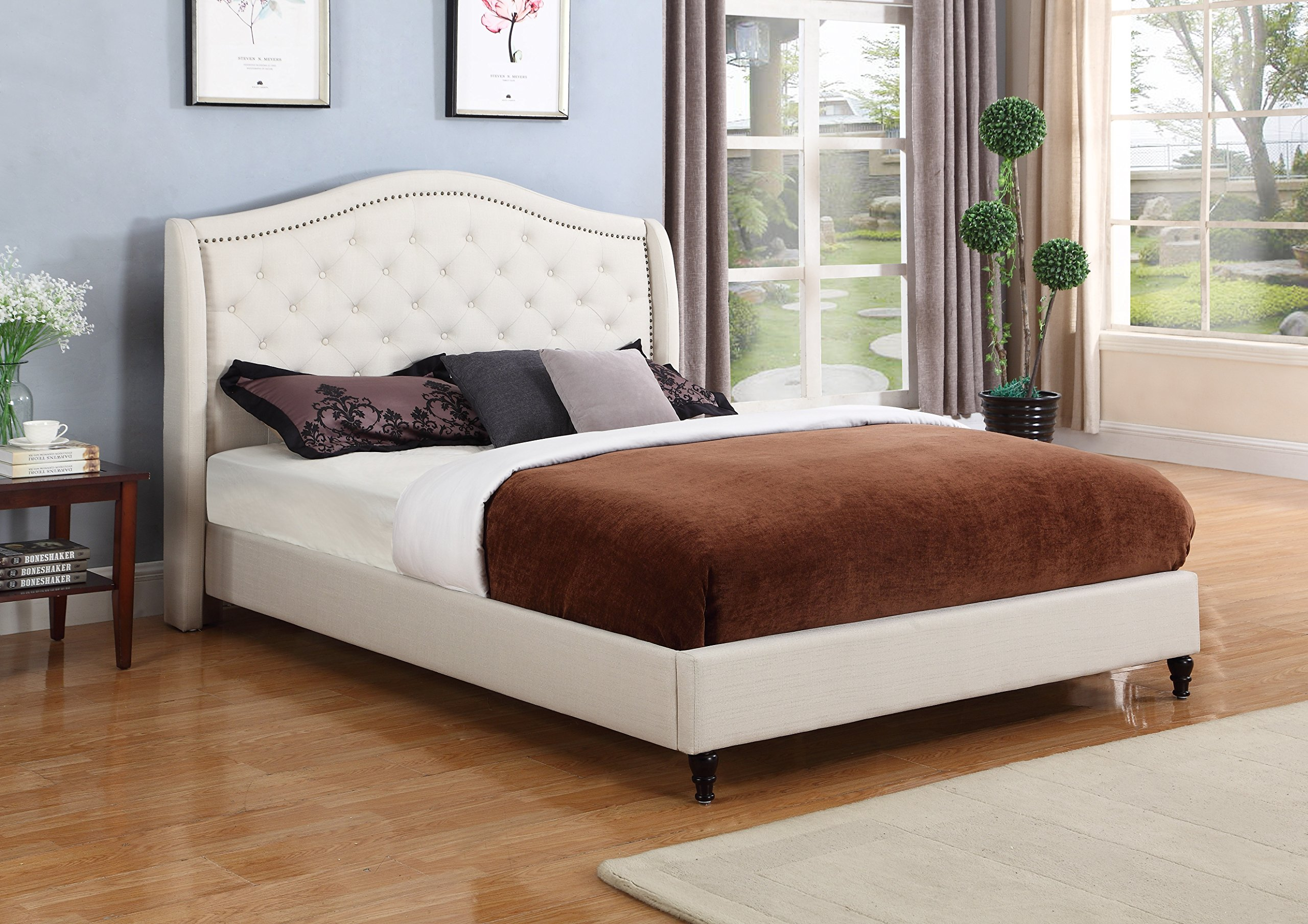 Home Life Cloth Light Beige Cream Linen Curved Hand Diamond Tufted and Nailed Headboard 53'' Tall Headboard Platform Bed with Slats Queen - Complete Bed 5 Year Warranty Included 013