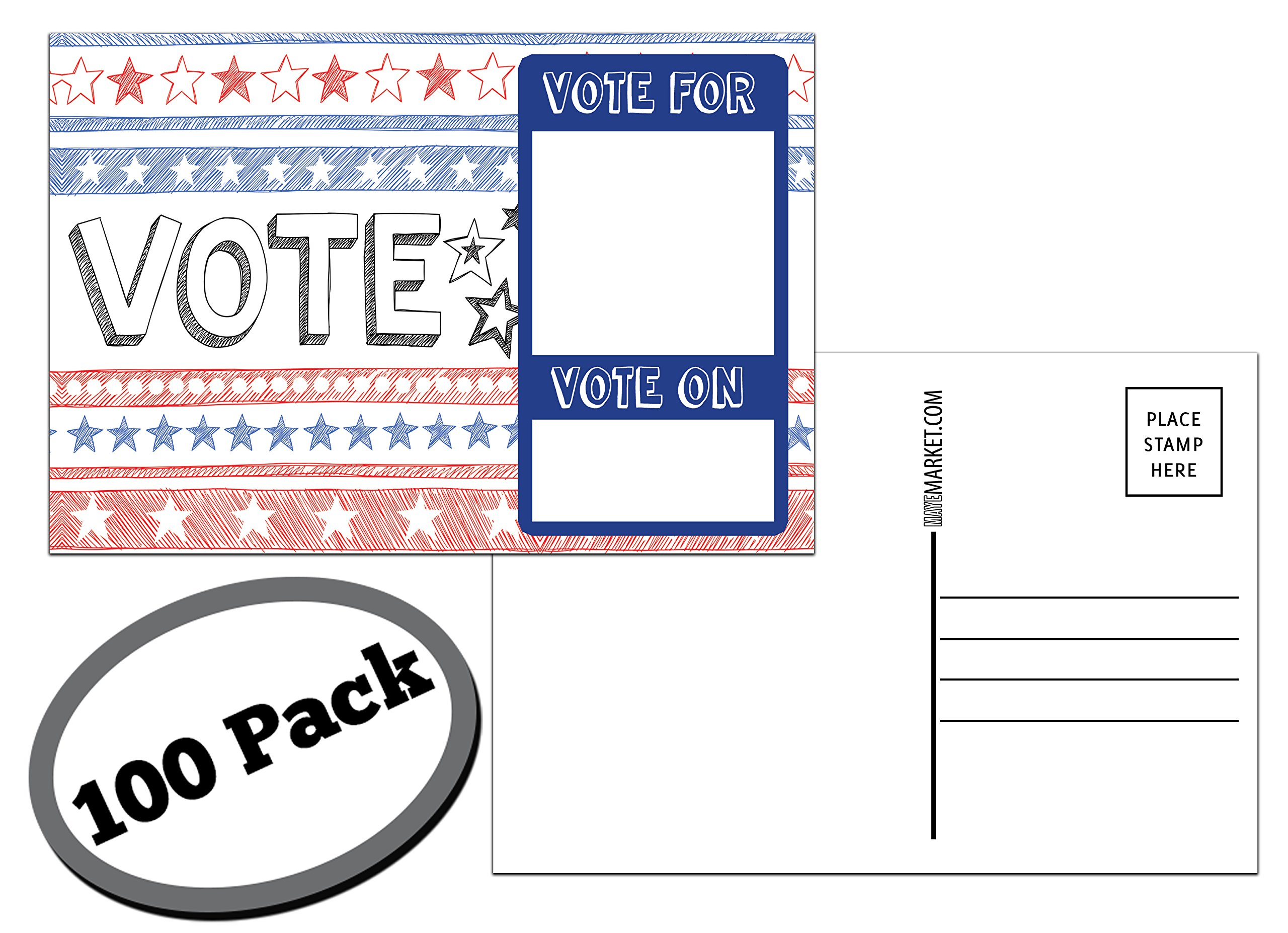 100 Pack of Blank Postcards. Each post card in this patriotic, bulk set is 4 x 6, USPS compliant (mailable), and USA made. Mail to voters to get votes. Flip side is plain white and unused. (sketch)