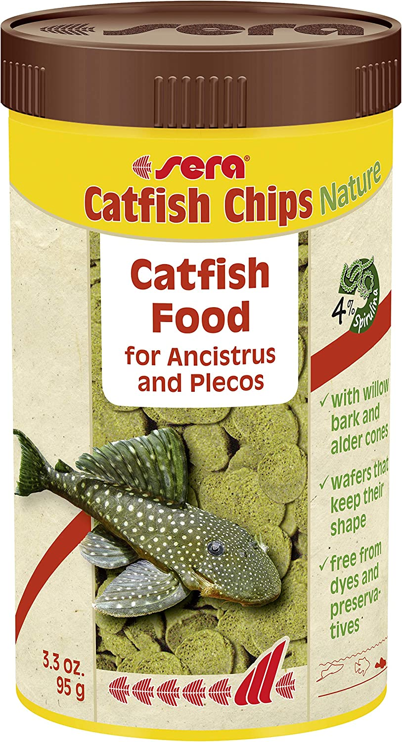 Sera Catfish Chips Wafers with Wood Fish Food, 3.3 Ounce Container