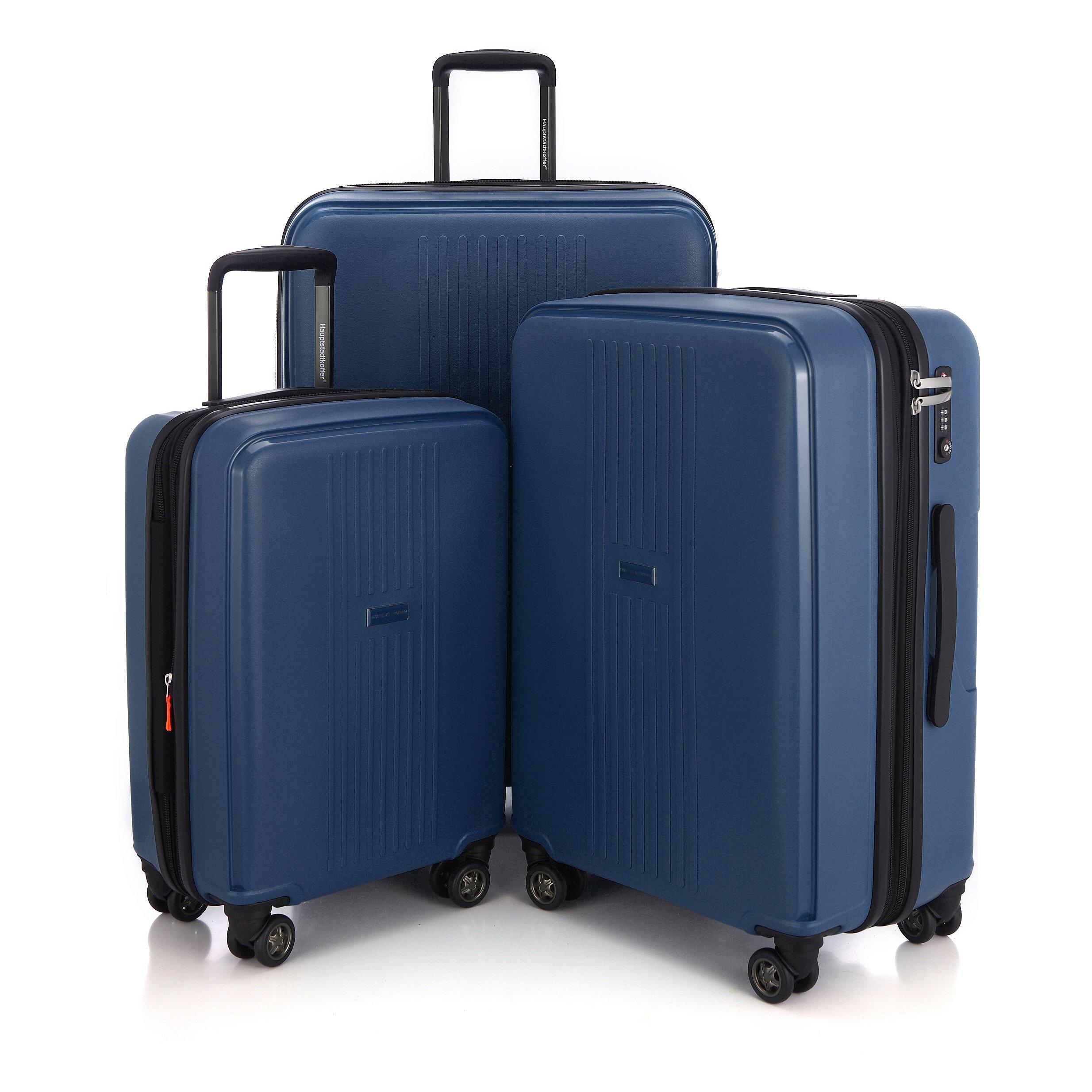 "HAUPTSTADTKOFFER - Ostkreuz - Set of 3 Hard-side Luggages matt Suitcase Hardside Spinner Trolley Expandable (20"", 24"" & 28"") TSA F-Darkblue"