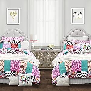 Lush Decor Multicolor Brookdale Comforter-Colorful Patchwork Pattern Reversible 5 Piece Dorm Bedding Set-Twin XL