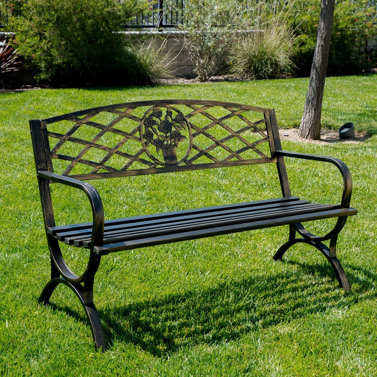 Belleze 50 Patio Garden Bench Park Yard Outdoor Furniture Porch Chair Seat Steel Frame, Bronze