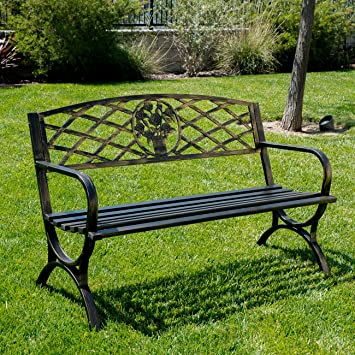 belleze 50 patio garden bench park yard outdoor furniture porch chair seat steel frame