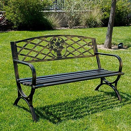 Belleze 50 Patio Garden Bench Park Yard Outdoor Furniture Porch Chair Seat Steel Frame, Bronze