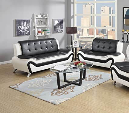 US Pride Furniture 2 Piece Modern Bonded Leather Sofa Set with Sofa and  Loveseat, White/Black