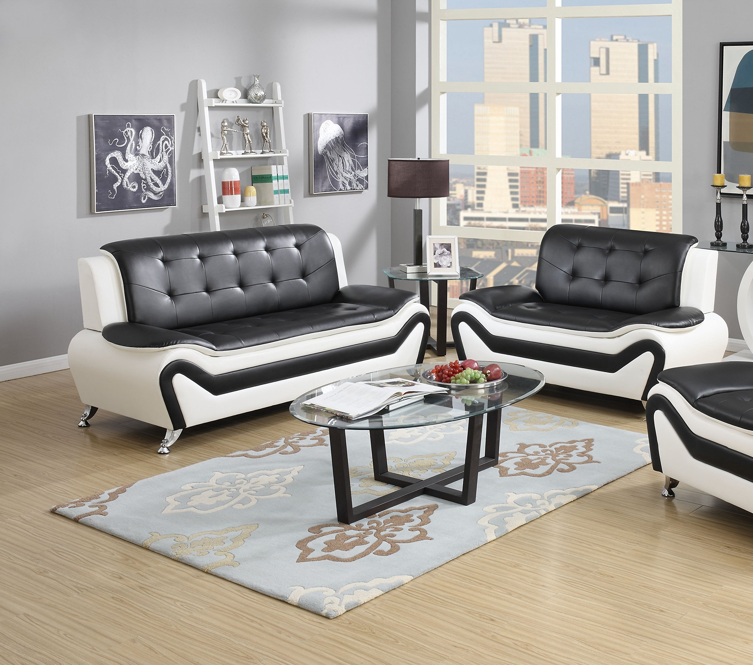 US Pride Furniture 2 Piece Modern Bonded Leather Sofa Set with Sofa and Loveseat, White/Black by US Pride Furniture