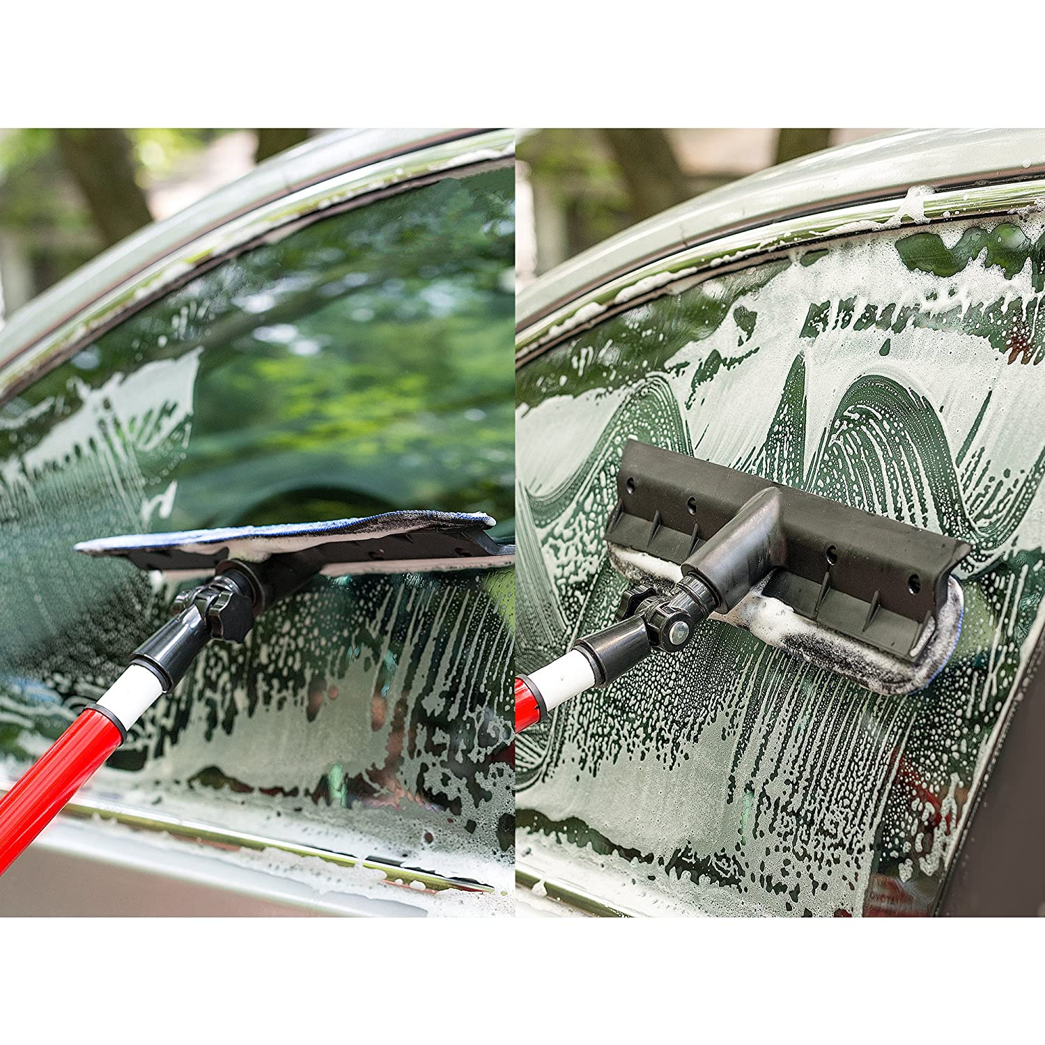 2 in 1 Telescoping Window Washing Equipment Microfiber Cloth /& Rubber Squeegee Tool Pivoting Cleaning Head 5ft Long Telescopic Pole Best Cleaner for Windows// Mirror// Glass Door// Car// RV Windshield RAVMAG AX-AY-ABHI-30453