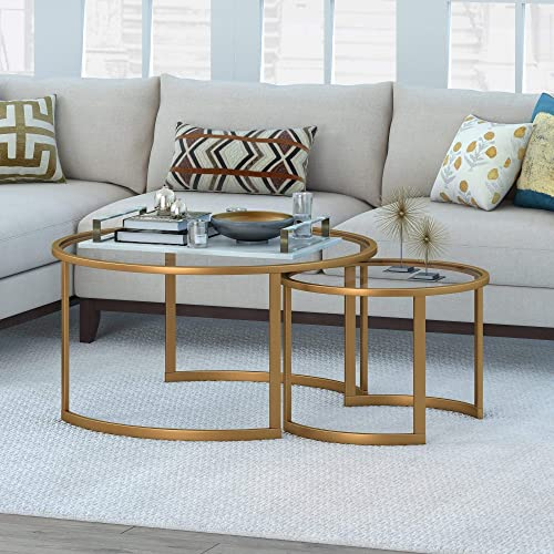 Overstock Mitera Round Nesting Coffee Table Gold Brass Finish