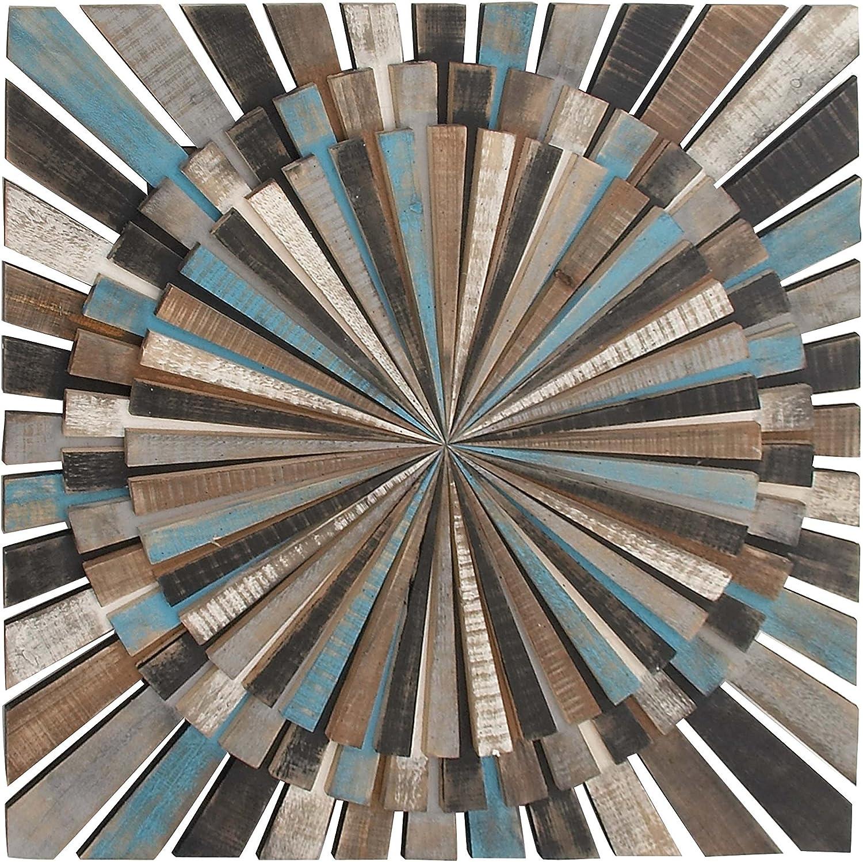 """Deco 79 84309 Wooden Wall Decor, 36"""" x 36"""", Black/Gray/Brown/Cyan/White"""