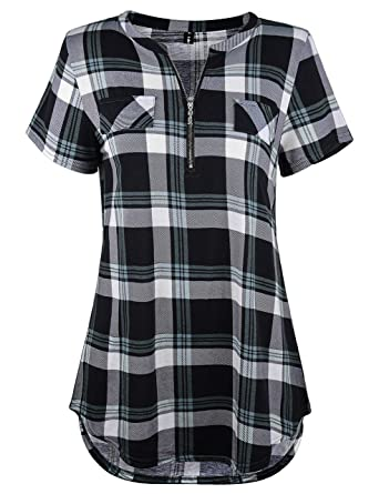 e391a578 Amazon.com: Odosalii Women's Casual 3/4 Rolled Sleeve Plaid Tunic Shirt Zip  Up Front V Neck Long Sleeve Tops Blouse: Clothing