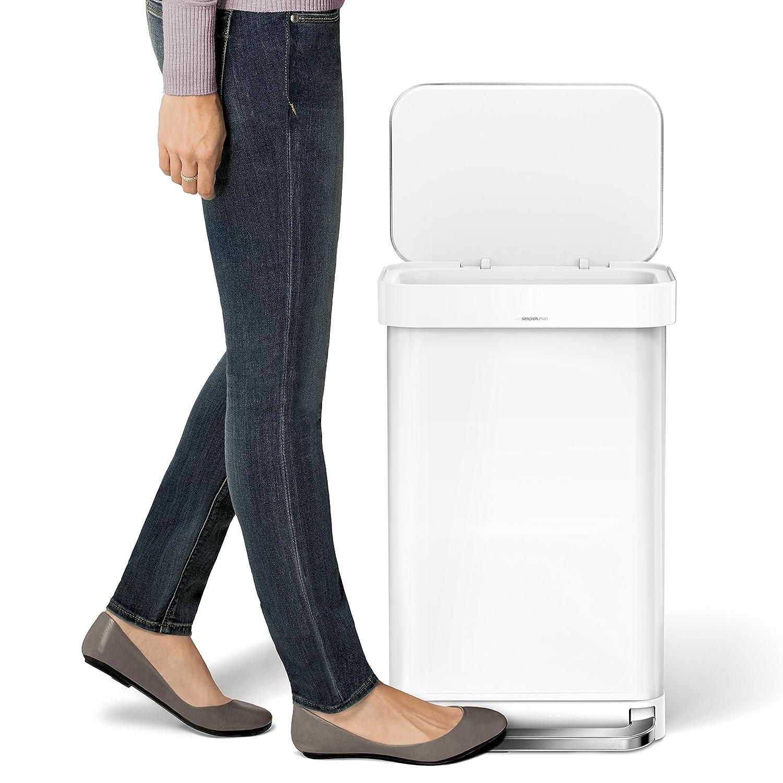 simplehuman liner rim rectangular step trash can with