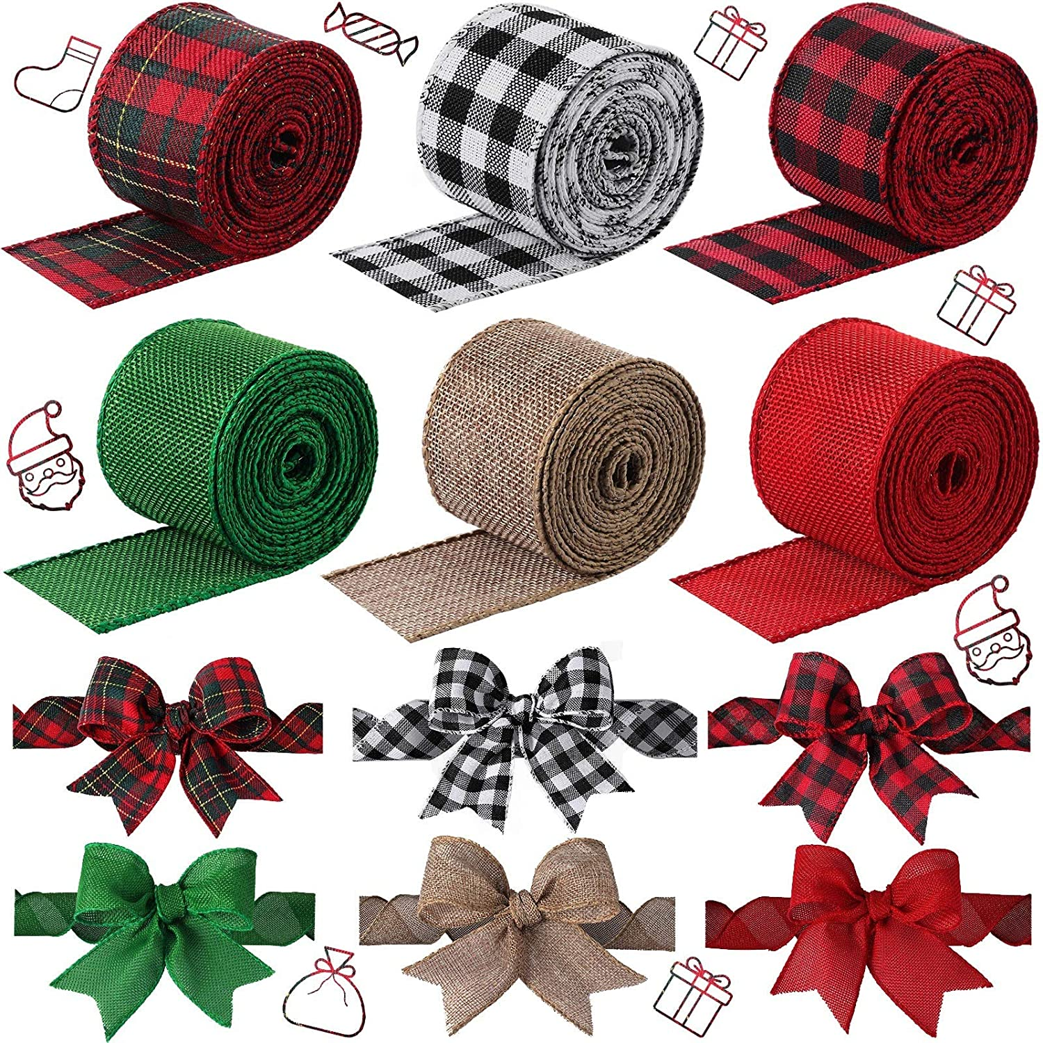 6 Rolls 2 Inches Wired Burlap Ribbon Christmas Wired Edge Ribbons Multi-Color Plaid Ribbon for Christmas Decoration DIY Wrapping Wedding Floral Bows Crafts, Totally 32 Yards