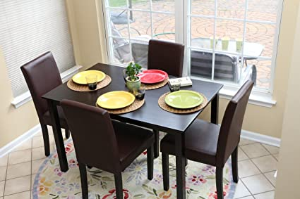 c40b2978275 Image Unavailable. Image not available for. Color  5 PC Espresso Leather  Brown 4 Person Table and Chairs Brown Dining Dinette ...