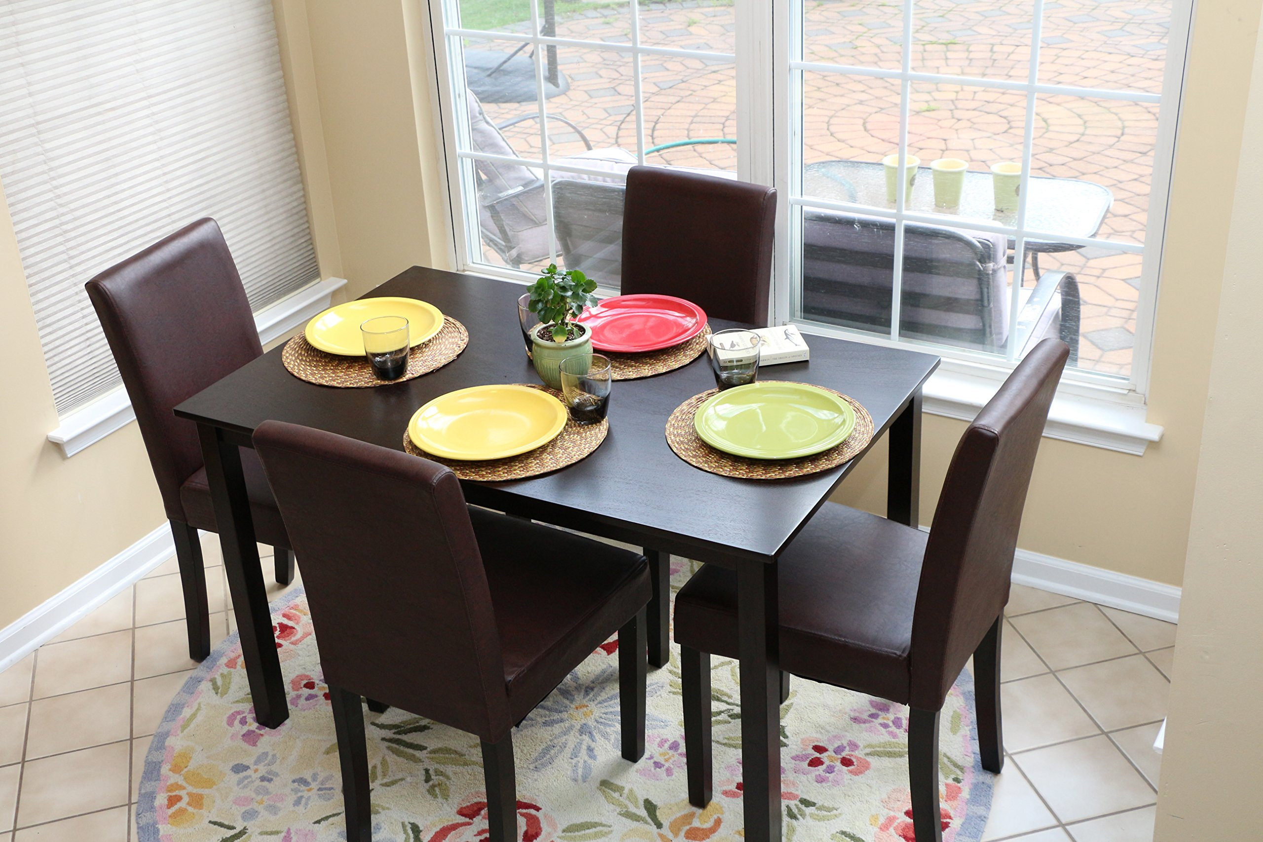 5 PC Espresso Leather Brown 4 Person Table and Chairs Brown Dining Dinette - Espresso Brown Parson Chair