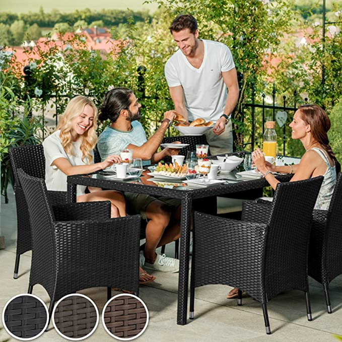 TecTake POLY Rattan Aluminium garden furniture dining set 6+1 seater 2 sets for exchanging the upholstery Anthracite | No. 400873 different colours - stainless steel screws
