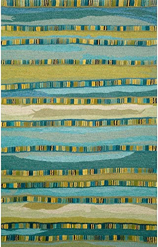 Liora Manne Seville Mosaic Stripe Hand Tufted Rug, 8 by 10-Feet, Blue