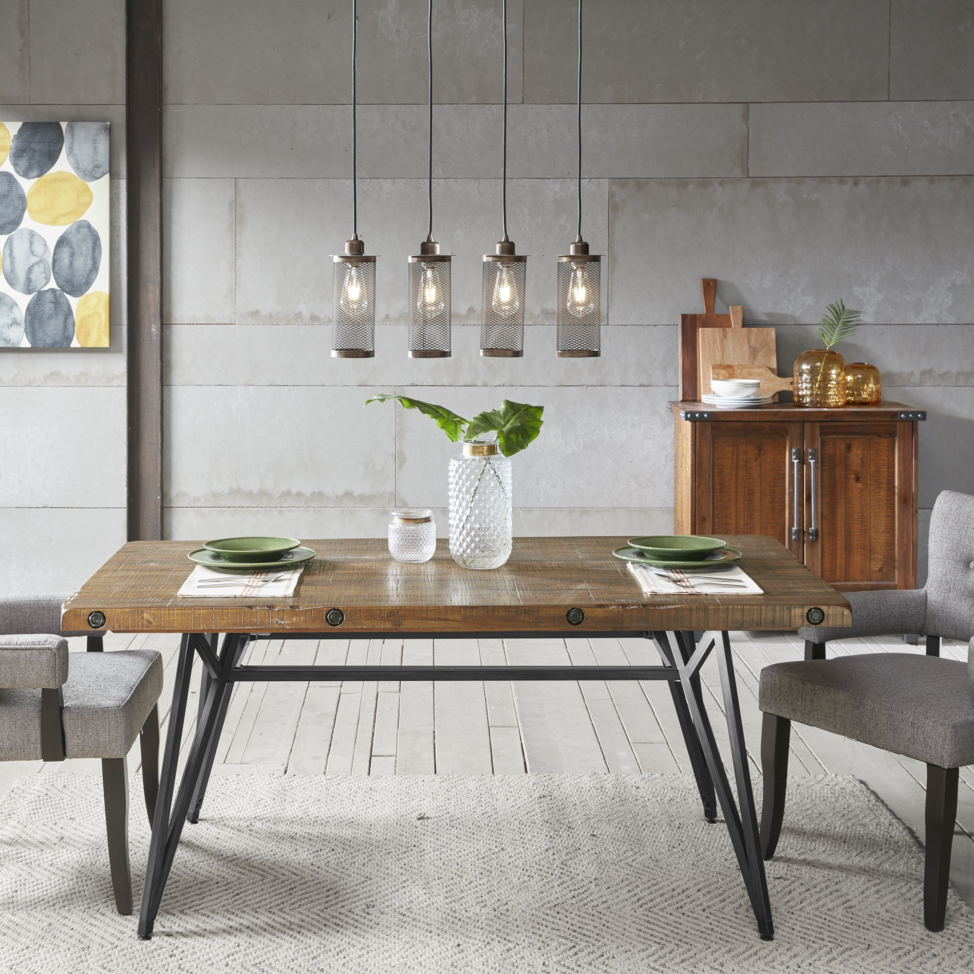 Ink+Ivy Trestle Dining/Gathering Table Reclaimed Brown/Gun Metal See Below by Ink+Ivy