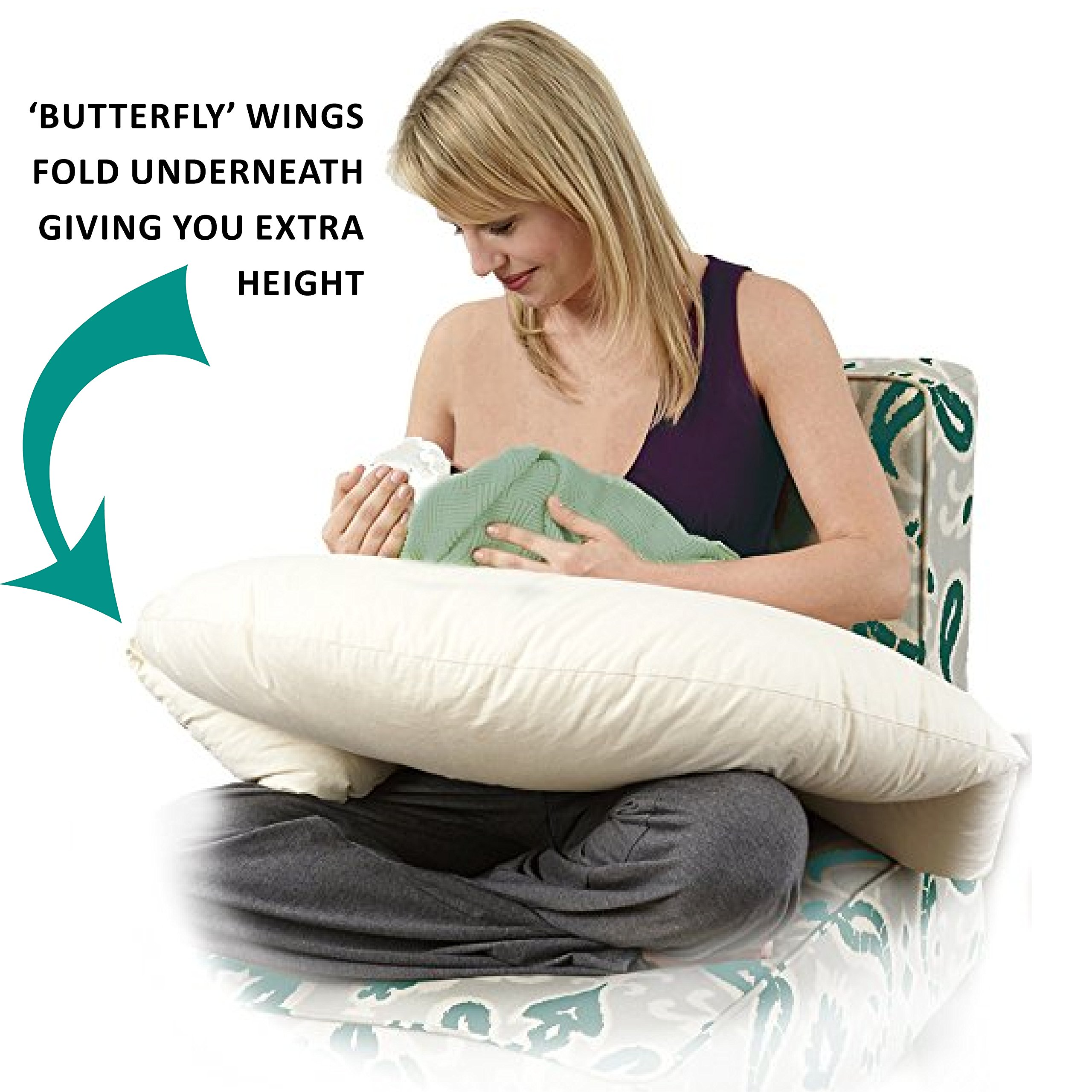 Moonlight Slumber Butterfly Breastfeeding Pillow with Removable Hypoallergenic, 100% Organic Cotton Natural-Colored Case